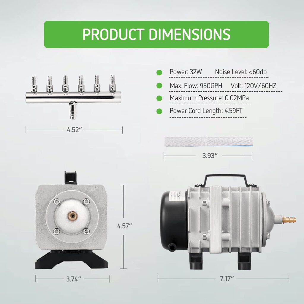 """Hydroponic Water Pump with 1/4"""" air lines"""
